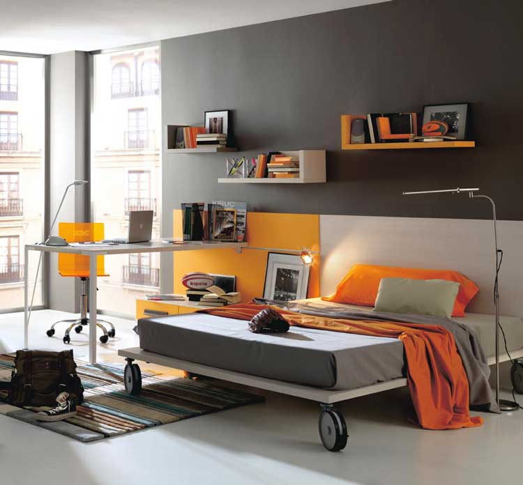 Grey-and-Orange-Modern-Teen-Bedroom-Color